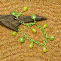 Kiwi Green Anklet with Luminescent Vintage Lucite Margarita Teardrops