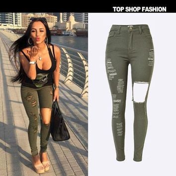 LMFHY3 New 2016 High Waist Jeans Ladies Cotton Denim Pants Stretch Womens Ripped Jeans Skinny Jeans Denim Jeans For Female army green
