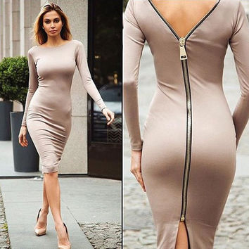 Autumn Maxi Simple Round Collar Knee-Length Sexy Elegant Dress Long Sleeve Full Zipper Tight Design Fitted Dresses Women Vestido