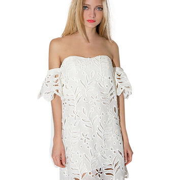 Off-shoulder Ruffled Sleeve Cutout Mini Shift Dress