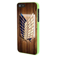 Attack On Titan Legion Logo Wood iPhone 5 Case Framed Green