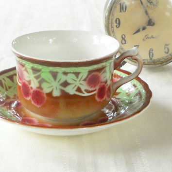 Rustic Cottage Ornate Maestrict Tea Cup and Saucer Set, Made in Holland, Cherry Blossoms, Rare, Antique, Numbered SB214