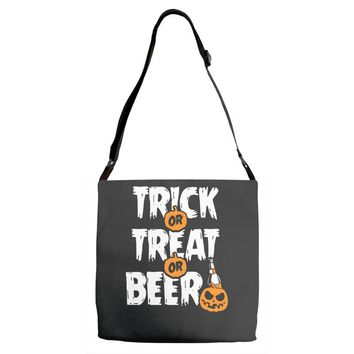 trick or treat or beer Adjustable Strap Totes