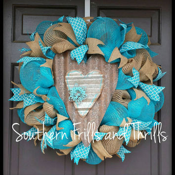 Rustic Deco Mesh Wreath, Deco Mesh Wreath, Jute Wreath, Heart Wreath, Spring Wreath, Summer Wreath, Turquoise Wreath