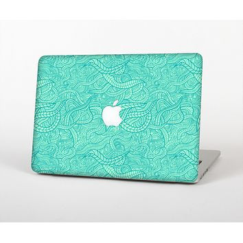 The Teal Leaf Laced Pattern Skin Set for the Apple MacBook Air 11""