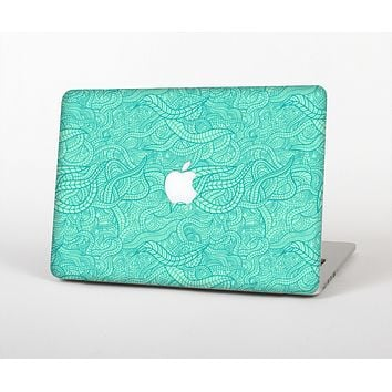 The Teal Leaf Laced Pattern Skin Set for the Apple MacBook Pro 13""