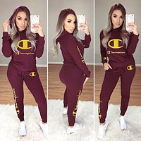 Champion Fashion Women Casual Long Sleeve Hooded Sweater Pants Two-Piece Red