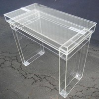 Lucite Desk / Cosmetic Table   Fully Clear Ghost Table With Hinge Top For Internal Storage.