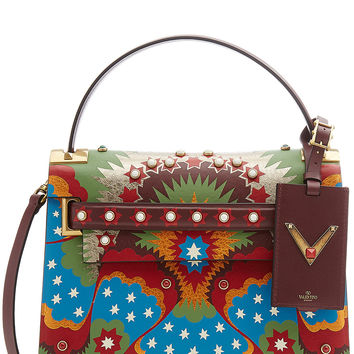 Valentino - My Rockstud Printed and Embellished Leather Shoulder Bag