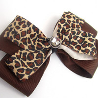 Cheeta Print Bow w/ Gem