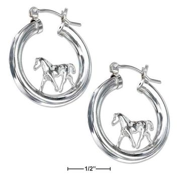 Sterling Silver On Tubular Hoop Horse Earrings With French Locks