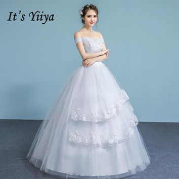 It's YiiYa Off White Hot Boat Neck Sleeveless Wedding Dresses Luxury Crystal Sequined Embroidery Ruffles Lace Wedding Gown A631