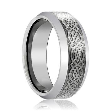 Aydins Mens Tungsten Wedding Band Celtic Knot Design Engraved 6mm, 8mm Tungsten Carbide Ring