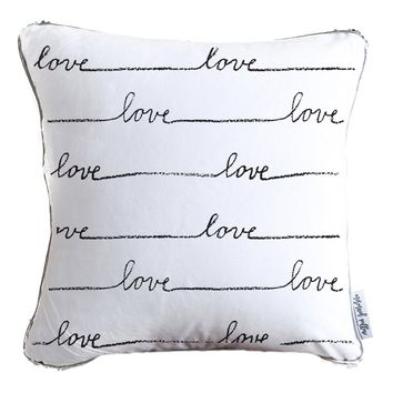 Hand Written Love Pattern Decorative Throw Pillow w/ Silver & White Reversible Sequins   COVER ONLY (Inserts Sold Separately)