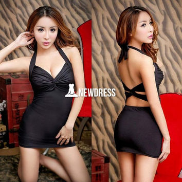 Sexy Women's V-neck Backless Halter Hip Package Tight-fitting Bodycon Party Mini Dress