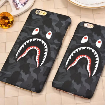 "Fashion Luminous Relief Phone Case Shark Camouflage Pattern Painted  Phone Case Back For iPhone 6 6s 4.7"" Plus 6s Plus 5.5"""