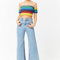 Colorblock Smocked Off-the-Shoulder Crop Top