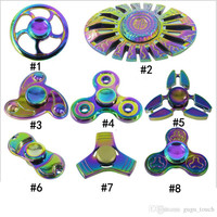 10 types Rainbow Fidget Spinner Colorful EDC Gyro Toys Metal Hand Spinner Fidget Aluminum alloy Fidget Hand Spinners with retail package
