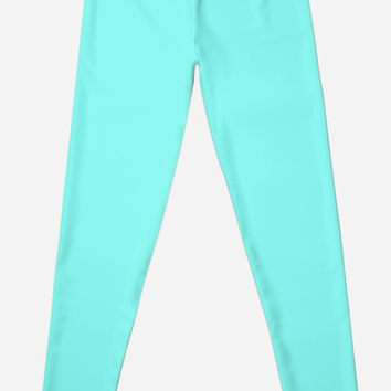 Modern girly robin egg Blue turquoise tiffany blue leggings
