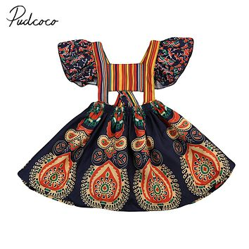Pudcoco 2017 Boho Toddler Baby Kids Girls Summer Floral Backless Dress Beach Party Dresses Clothes 1-6Y