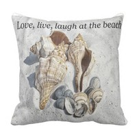 Love, live, laugh at the beach throw pillow