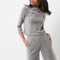 Grey knit high neck grazer top - RI Limited Edition - Sale - women