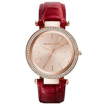 Michael Kors MK2383 Women's Darci Crystal Bezel Rose Gold Dial Rose Gold Steel Brown Leather Strap Watch