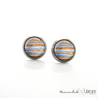 Jupiter Space Jewelry - Solar System jewelry Nebula Titanium Post Earrings | Hypoallergenic Titanium Earring Stud | Sensitive jewelry studs
