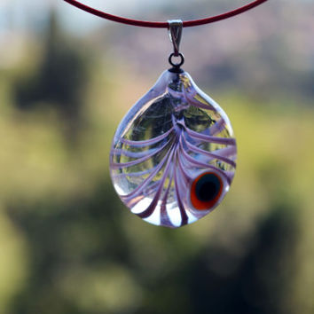 Lilac Coloured Murano Glass Evil Eye Pendant, Lamp Work Evil Eye Necklace, Lavender Transparent Bead Pendant, Good Luck Lampwork Turkish Eye