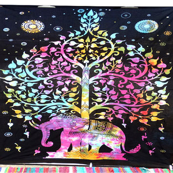 Elephant Tree Tapestry Multi Elephant tapestry Hippie Wall hanging Tree of life tapestry Drom tapestry Indian bed spread wall hanging