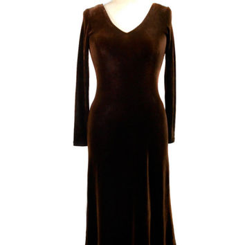 1990s Cachè Velvet Dress / Brown / Form Fitting / V Neck / Womens Vintage Dress / Size Small
