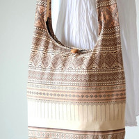 Traditional Thai Patterns / BEIGE / Ethnic Hippie Purse and Fashion Cross Body Bag / Boho Hobo Messenger Bag SSS101