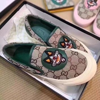 Gucci Women Embroidery Loafer Shoes Flat Casual Shoes