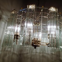 Mid Century Glass Rod and Beveled Glass panel Chandelier