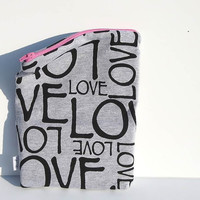 Valentine's MakeUp Pouch Clutch Fold Over. LOVE print JERSEY knit fabric zipper pouch. Choose Zipper Color add style Spring Line.
