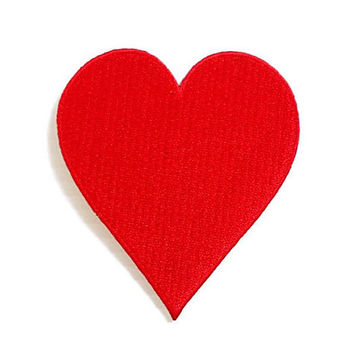Red Heart New Iron Patch Embroidered Applique Size 6.5cm.x7.2cm.
