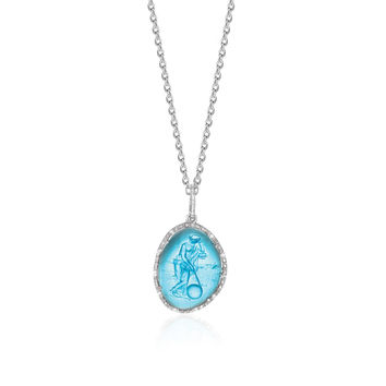 Diamond Embellished Blue Venetian Glass Cameo Pendant in Silver