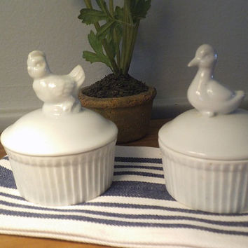 2 Vintage Small Ironstone White Crocks with Figural lids ~ Hen and duck lids ~ Farm House  ~ Cottage