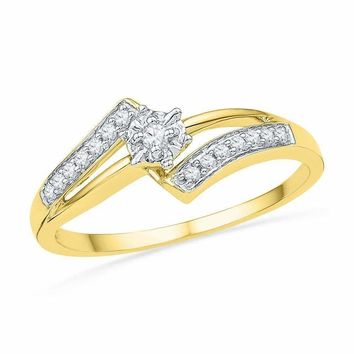 10kt Yellow Gold Women's Round Diamond Solitaire Bridal Wedding Engagement Ring 1/10 Cttw - FREE Shipping (US/CAN)