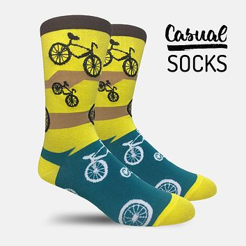 Cycles Yellow Teal Casual Socks