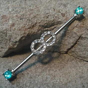 Infinity Industrial Barbell Opal Ends Teal Body Jewelry