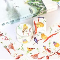 Finch washi tape 10M blue bird canary bird EXTRA WIDE deco masking tape singing bird decor sticker cute bird scrapbook gift
