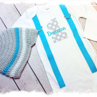 Boys First Birthday Outfit with Name and Matching Beanie-Aqua and Gray Birthday Outfit-CAKE SMASH OUTFIT