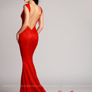 Red Dress, Maxi Dress with Open Back, Sexy Dress, Formal Dress, Evening gown, Evening dress, Sleeveless dress, Party dress, night club dress
