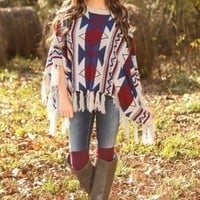 Forever Young Poncho-Navy