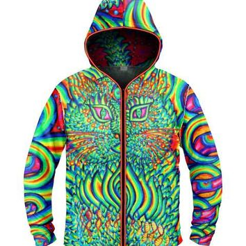 Psychedelic Cat by Alex Aliume Light Up Hoodie