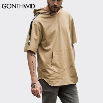 Short Sleeve Thin Hoodies Men Curved Hem Extended Pullover Sweatshirts Summer Male Hip Hop Solid Color Hooded