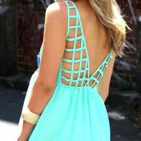 Mint Chiffon Dress with Cage Back and Chest