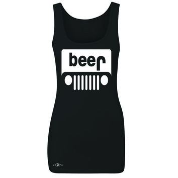 Zexpa Apparel™ Beer Jeep Funny  Women's Tank Top Drinking Off-Road Party Alcohol Sleeveless