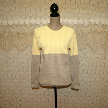 Womens Pullover Sweater Small Cable Knit Colorblock Sweater Cotton Womens Sweaters Crew Neck Beige Yellow Liz Claiborne Womens Clothing